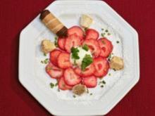 Erdbeer-Carpaccio mit Eis an Mandelcreme (Ingrid Steeger) - Rezept