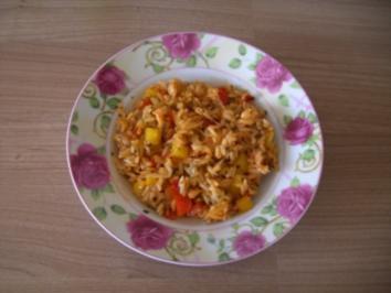 Zwiebel-Reis-Paprika-Pfanne - Rezept