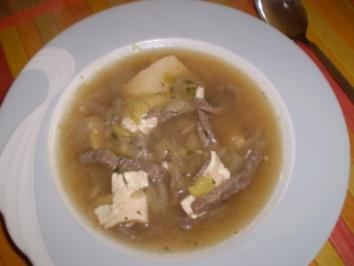 Rindfleischsuppe mit Tofu - Rezept