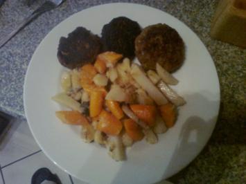 Kräuterboulette mit Ingwer-Möhren-Kohlrabi Gemüse und Kartoffelstampf - Rezept