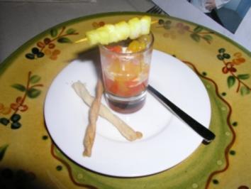Paprika- Vinaigrette mit Sepia- Spießchen - Rezept