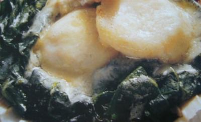 Fisch --- Jakobsmuscheln überbacken mit Champagnersauce und Pyrenäenkäse - Rezept