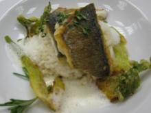 Gegrilltes Filet von der Dorade an Olivenrisotto mit Fenchel im Brickteig - Rezept