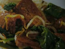 Wok --- Rinderfilet mit Spinat - Rezept