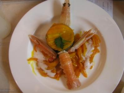 Langustinen an Fenchel- Safran- Gemüse  Mit Sepia- Risotto und  Vanille- Knoblauch- Aroma - Rezept