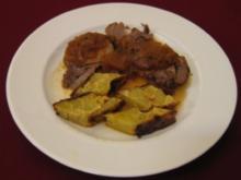 Schweinebraten mit Äpfeln und Tortilla-Rauten - Rezept