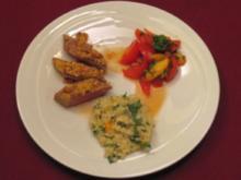 Lammrücken mit Pinienkern-Kruste an Graupen-Risotto und Tomaten-Pfirsich-Salat - Rezept