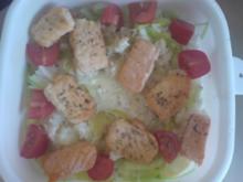 Reispfanne mit Lachs, Tomate und Lauch - Rezept