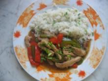 Geschnetzeltes mit Paprika und Reis - Rezept