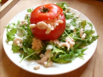 Gefüllte Tomate m Shrimps - Rezept