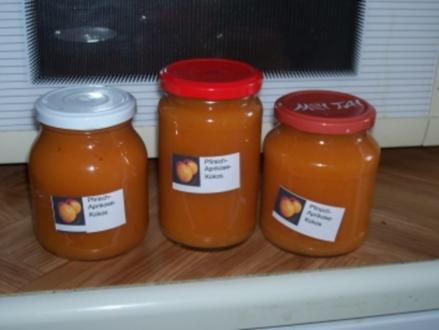 Konfitüre - Pfirsich-Aprikosen-Kokos-Konfitüre - Rezept