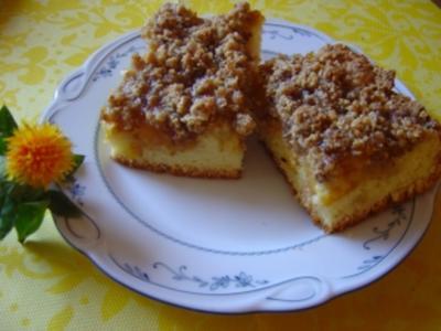 Mirabellen-Blechkuchen mit Haselnußstreusel und Aprikosenmarmelade, eigene Komposition... - Rezept