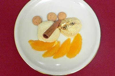 Gewürzorangen mit Marzipanmousse und weißer Mousse au chocolat - Rezept