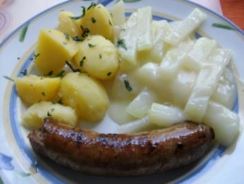 Bratwurst mit Kohlrabi und Kartoffeln - Rezept