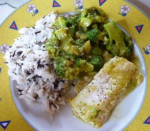 Brokkoli-Curry mit Steinbeißer - Rezept