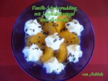 Dessert: Vanille-Schokopudding mit Schokokeksriegel und Bananen - Rezept