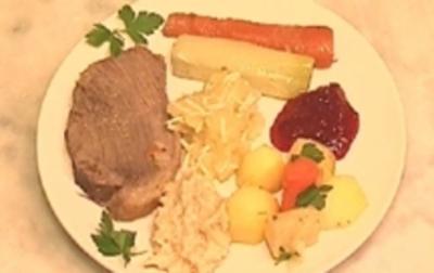Tafelspitz mit Bouillon-Kartoffeln und warmer Meerrettichsoße - Rezept