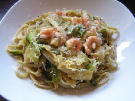 Zucchini- Spaghetti mit Flusskrebsen - Rezept