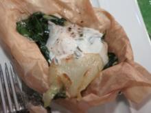 Petersfisch in Folie gegart mit Mangold und gebratener Krebspolenta a la Baudrexel - Rezept