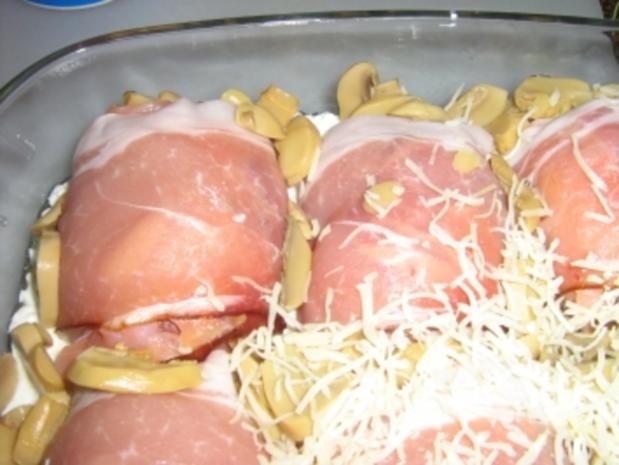 Hähnchenbrustrolladen im Speckmantel  überbacken - Rezept - Bild Nr. 10