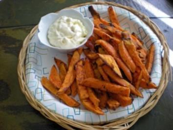 Yamswurzel Frittes mit Thymian Aiioli - Rezept