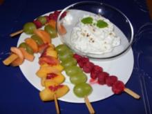Fruchtspieße mit leckerem Quark - Rezept