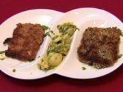 Zweierlei Schnitzel mit Avocado-Kartoffel-Spargelsalat an Bärlauchpesto (Mark Kühler) - Rezept
