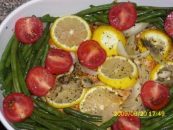 Fleisch:  Zitronen-Kräuter-Hähnchenbrustfilets mit Bohnen, Tomaten und Thymiankartoffeln - Rezept
