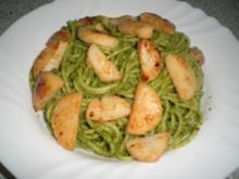 Spaghetti mit Spinat-Mandel-Pesto und Jakobsmuscheln - Rezept