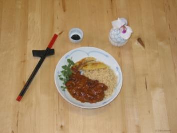Erdnuß-sauce mit Hähnchenbrust - Rezept