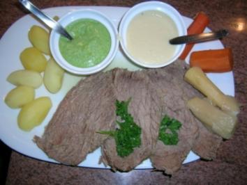 """Tafelspitz mit """"grie Soß"""" und Merrettichsauce sowie Kartoffeln - Rezept"""