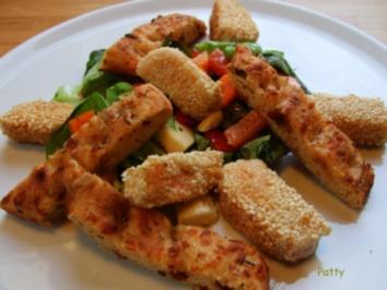 Lachs in Sesam mit Focaccia&Salat - Rezept
