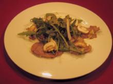 Dünne Kalbsfiletscheiben mit Knoblauch, Rosmarin und Edelpilzen - Rezept