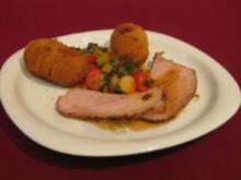 Kalbstafelspitz mit Marsala-Soße, Pancetta-Kartoffeln und Kirschtomatenfondue - Rezept