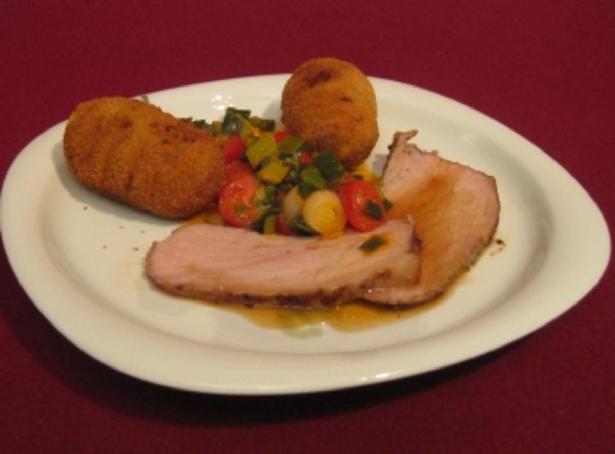 Bilder für Kalbstafelspitz mit Marsala-Soße, Pancetta-Kartoffeln und Kirschtomatenfondue - Rezept