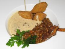 Lauwarmer Linsensalat mit gebackenen Weißwurstscheiben an Senfschaum - Rezept