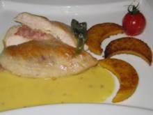 Hähnchenfilet mit Provolone und Parmaschinken, an Polenta und Zitronensoße - Rezept