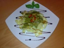 ** Pasta ** Bandnudeln mit Basilikum-Pesto und Cocktailtomaten - Rezept