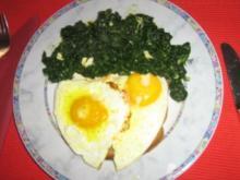 Spinat-Cambozola mit Spiegeleibrot - Rezept