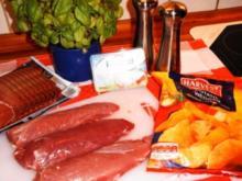 Gefülltes Schweinefilet mit Kartoffelspalten - Rezept