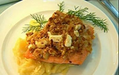 Bachforelle mit Lebkuchen und Ziegenkäse - Rezept