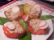 Paprikaschoten gefüllt mit Thunfischcreme - Rezept