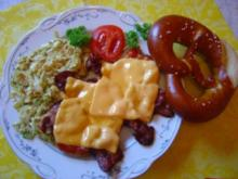 """Flachland-Tiroler""-Schnitzel mit Chinakohl, Bacon. Käse und Tomate... - Rezept"