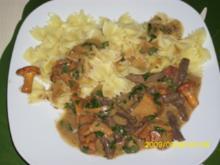 Fleisch:  Rindergeschnetzeltes mit Pfifferlingen und Pasta - Rezept