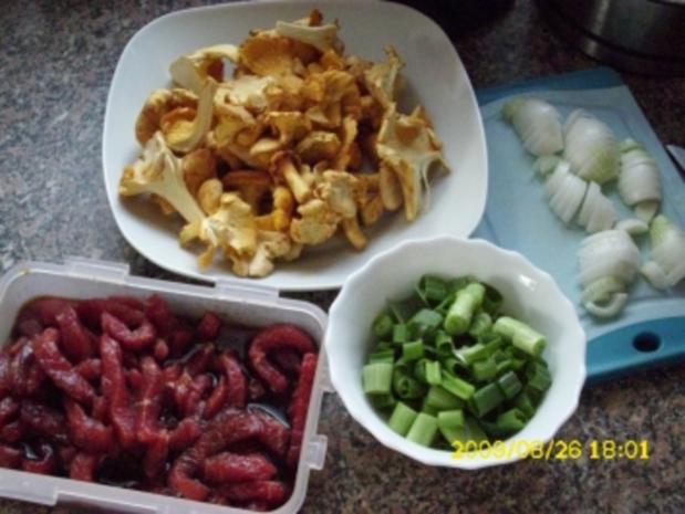 Fleisch:  Rindergeschnetzeltes mit Pfifferlingen und Pasta - Rezept - Bild Nr. 2