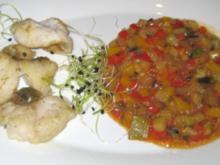 Kross gebratene Zanderfiletstreifen auf Ratatouille provençale - Rezept