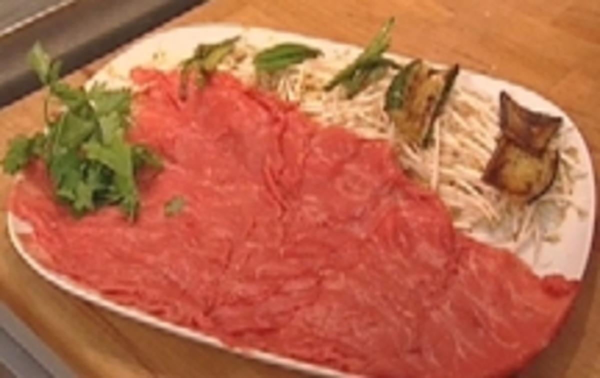 Bilder für Japanisches Fondue mit Huhn, Rind und frischem Gemüse - Rezept