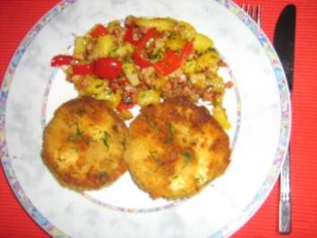 Auberginentaler mit Paprika-Bratkartoffeln - Rezept