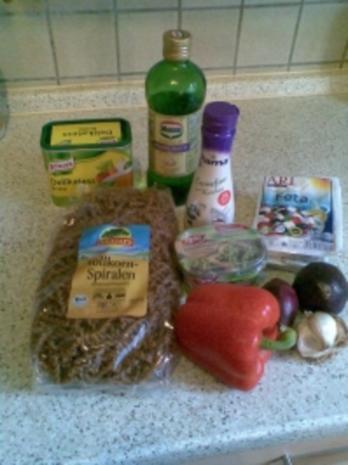 Vollkornnudeln mit Feta-Sauce - Rezept