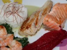 Fisch: Edelfisch auf Blattspinat mit Rote-Bete-Schaum - Rezept